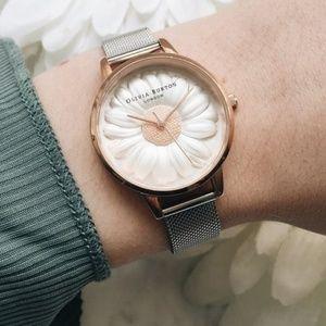 Rare Olivia Burton Daisy Silver & Rose Gold Watch